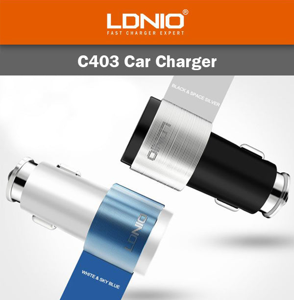 LDNIO C403 2 USB Port Car Charger 1000mm Micro Lightning Cable IOS Android