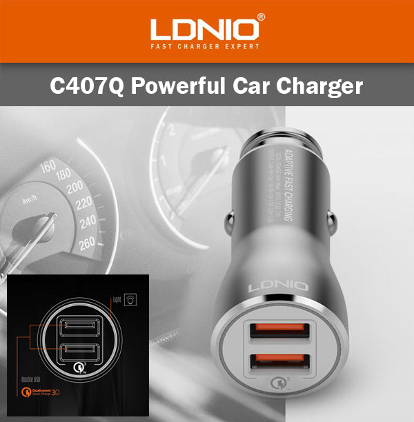 LDNIO C407Q Powerful Car Charger 2 USB Port Micro Lightning Cable IOS Android