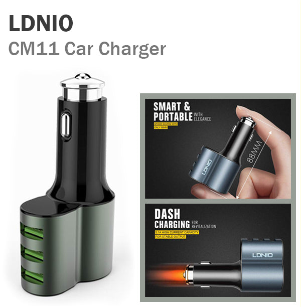 LDNIO CM11 Car Charger 3 USB Port High Current Speed Charge IOS Android Fast