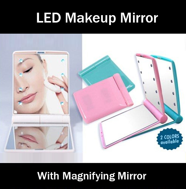 Compact Portable Makeup Mirror with LED Lights Convenient Slim Sleek Small Mini