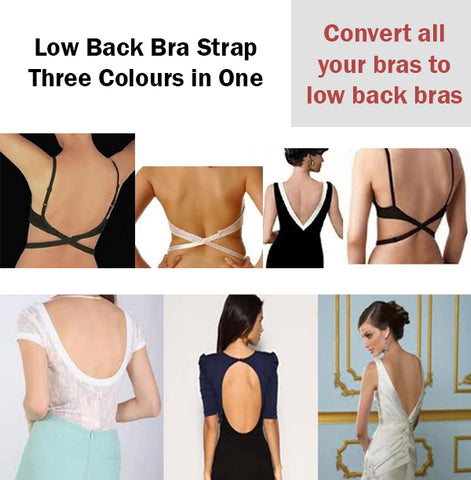 As Seen On TV Low Back Bra Strap Set of 3 White Black Nude Belt Buckle Smooth