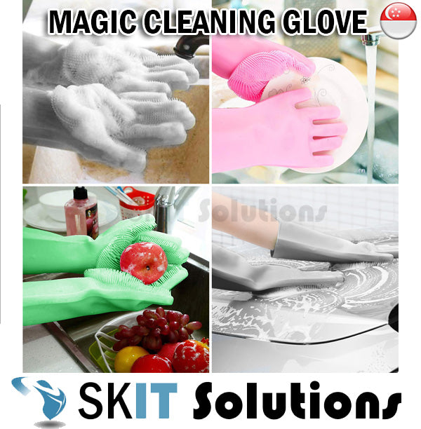 Magic Cleaning Glove Silicon Rubber Brush Scrubber Sponge Heat Resistant Kitchen Washing Dishes Car