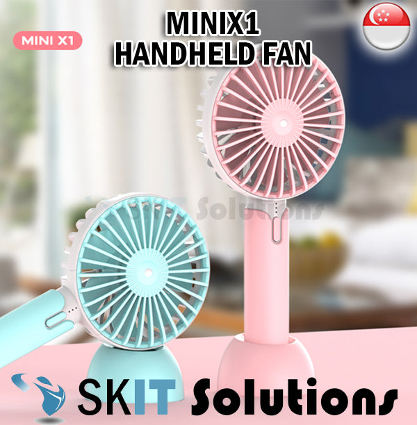 MINIX1 Handheld Fan Strong Wind Cooling Portable Light Easy Carry 3 Speed Rechargeable Battery USB