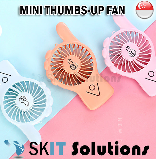 Mini Thumbs-up Fan Portable Lightweight Compact Strong Wind Cooling USB Charging With Light Lanyard