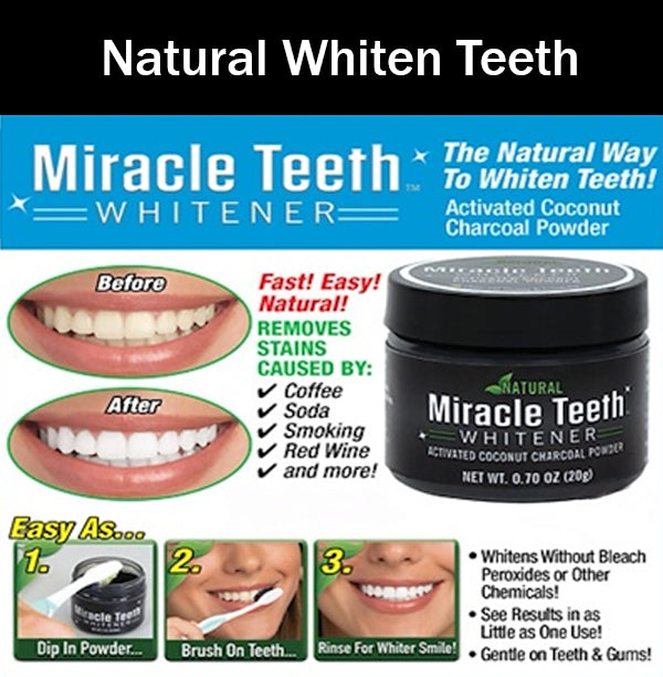 Miracle Teeth Whitener Natural Whiten Activated Coconut Charcoal Powder Brush-On