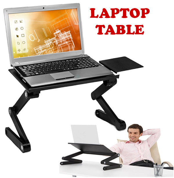 Multi-functional Foldable Auminium Laptop Table Desk Computer Study Bed Side