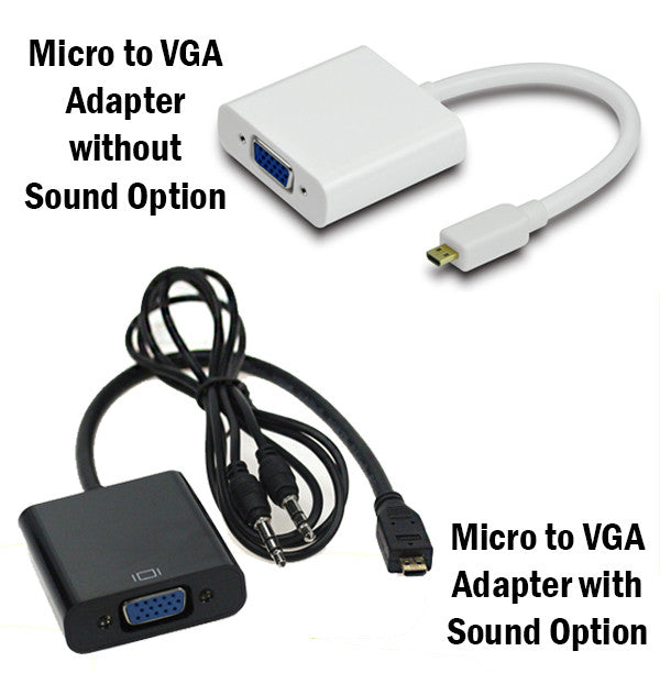 Micro to VGA Adapter Sound Option Converter FHD 1080 Connector TV Cable Output