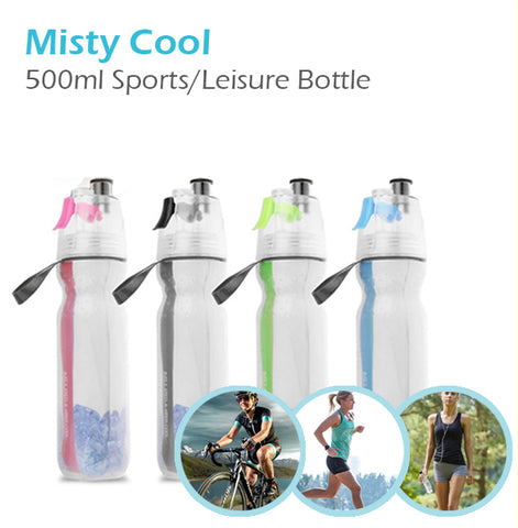 Misty Cool 500ml Spray Mist Insulated Cold Water Bottle Sports Leisure BPA Free