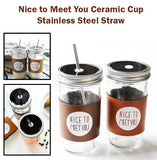 Nice to Meet You Ceramic Glass Cup with Metal Lid Straw Drink Beverage Bottle