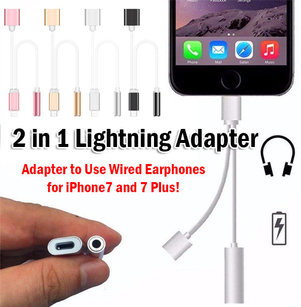 2 in 1 2in1 8Pin Lightning Adapter iPhone 5 6 7 iPhone7 Plus Airpods Cable Apple