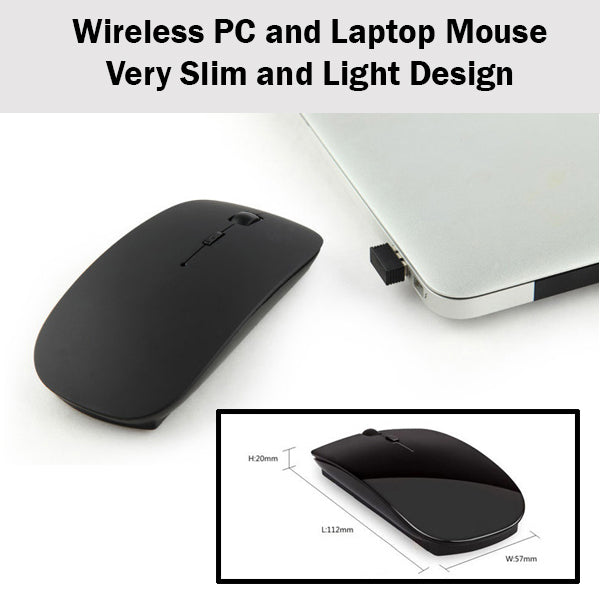 2.4 GHz Wireless Mouse Computer Laptop PC Slim Sleek USB Connection Connect Easy