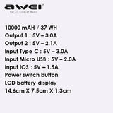 AWEI P63K Power Bank 10000mAh Fast Charging Charger 3A Powerbank 2 USB Portable