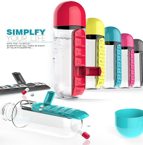 Water Bottle Built-In Daily Pill Box Organizer Vitamin Holder Compartment BPA Free 600ml