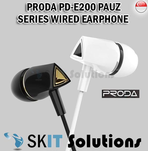 Proda PD-E200 Pauz Series Wired In-Ear Headphone Earphone Earpiece HD Microphone Clearer Calls Music