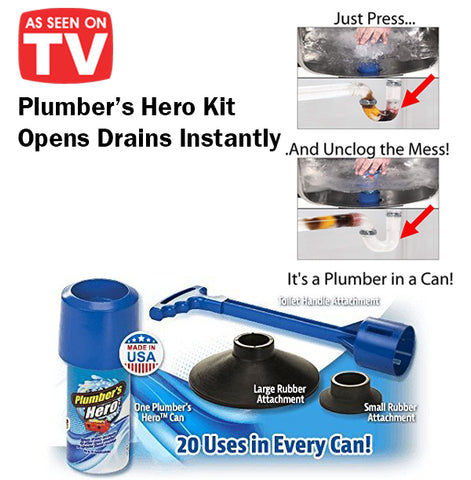 As Seen On TV Plumber's Hero Kit Opens Clog Drains Instantly Easy Quick Toilet