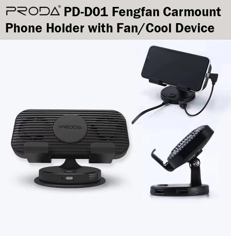 Proda PD-D01 Fengfan Car Mount Phone Holder with Fan Handphone iPhone Samsung
