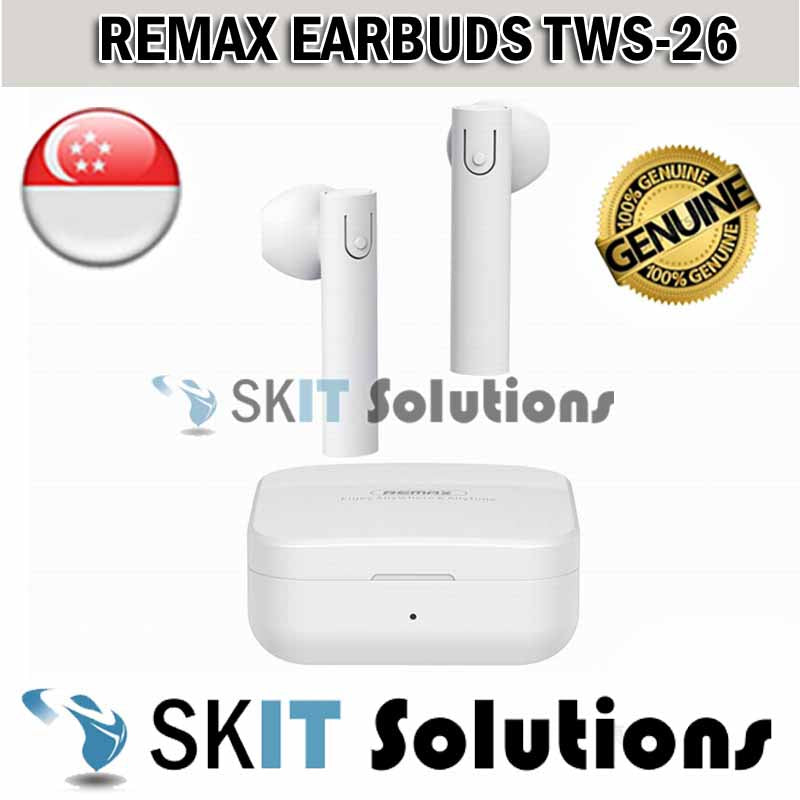 Remax True Wireless Bluetooth Ear Buds EarPiece EarPods Earphone Headset Tws-26 Longer Battery Sport