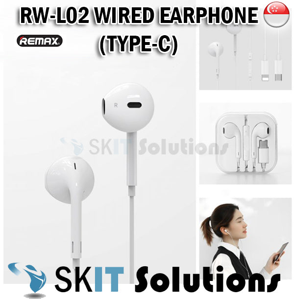 Remax RW-L02 Wired Earphone Type-C Jack Headset Earpiece Headphone Bluetooth For Calls Music Volume