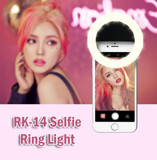 RK-14 Selfie Ring Light Rechargeable Lighting Flash Android iPhone Samsung Phone