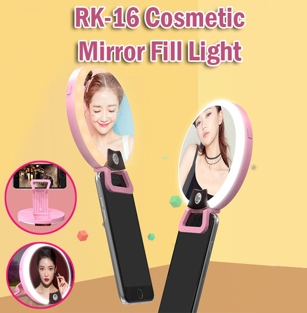 RK-16 Cosmetic Mirror Fill Light Phone Holder Flash Make Up Multipurpose Lights