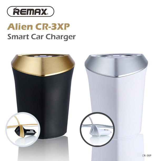 Remax CR-3XP Alien Smart Car Charger with LED Screen and 3 USB Charging Sockets