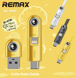 Remax RC-073th 1M Cutie 3in1 Data Cable for Lightning Micro Type-C IOS Android