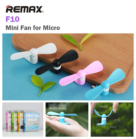 Remax F10 Mini Fan for Micro Android Samsung Oppo Vivo Portable Wind Cooler USB