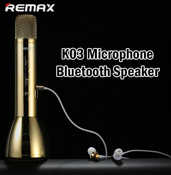 Remax K03 Microphone Karaoke Bluetooth Speaker Wireless Mic Smart Handheld Sing
