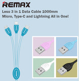 Remax RC-050th 1M Lesu 3in1 Data Cable for Lightning Micro Type-C IOS Android