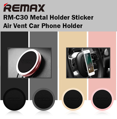Remax RM-C30 Metal Holder Sticker Car Phone Holder Air Vent Mount iPhone Android