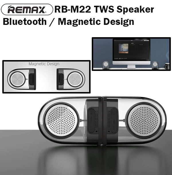 Remax RB-M22 TWS Bluetooth Magnetic Base Dual Speaker AUX Stereo Portable Music