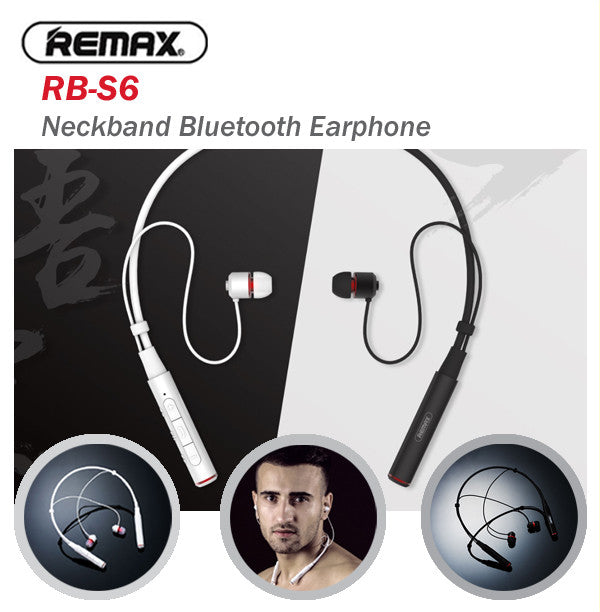 Remax RB-S6 Neckband Bluetooth Headset Headphone Earpiece Earphone Samsung Apple