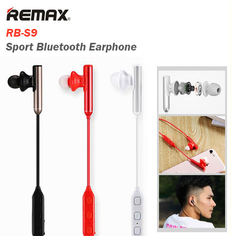 f01be92602e Remax RB-S9 Sport Bluetooth Earphone Wireless Music Headset Earpiece IOS  Android