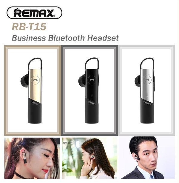 Remax RB-T15 Business HD Voice Bluetooth Headset Earphone Earpiece Samsung Apple