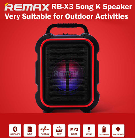 64c16d693a7 Remax RB-X3 Song Karaoke Outdoor Speaker Bluetooth SD Card Lifelasting  Battery