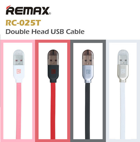 3250871c917 Remax RC-025T Double-Head Twin 2 in 1 Charging USB Cable Lightning Micro