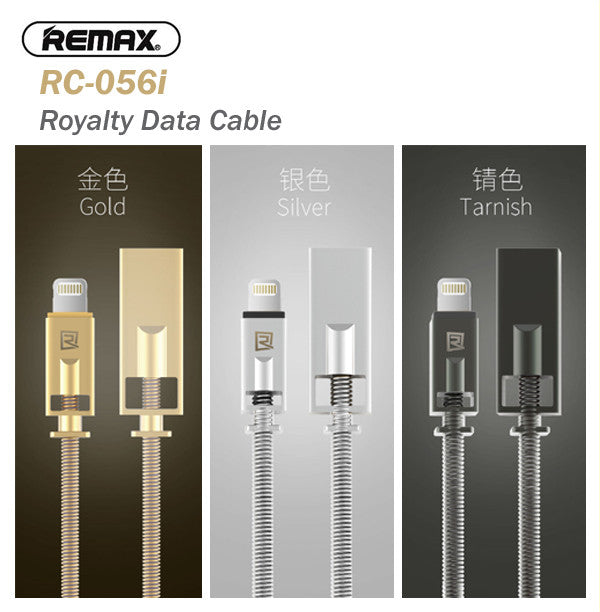 Remax RC-056i Royalty 1 Metre Super Fast Charging and Data Transfer Metal Cable