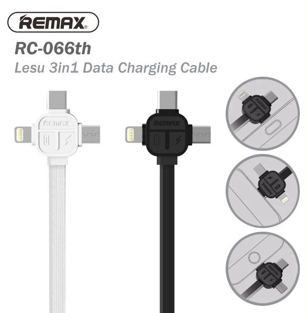 Remax RC-066th Lesu 1000mm 1M 3 In 1 USB Data Charging Cable Charger IOS Android