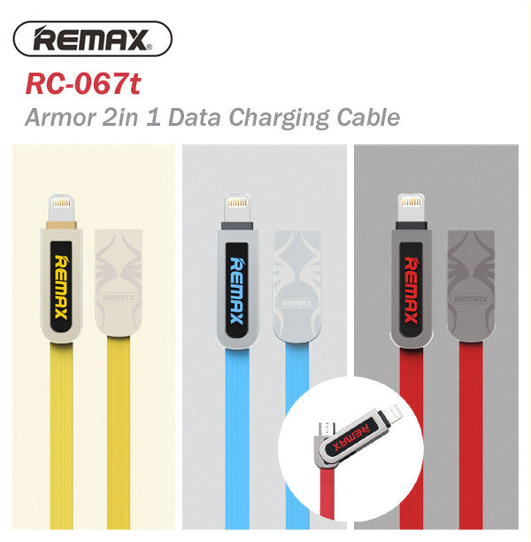 Remax RC-067t Armor 2 In 1 1000mm 1M Zinc Alloy Data Charging Cable IOS Android