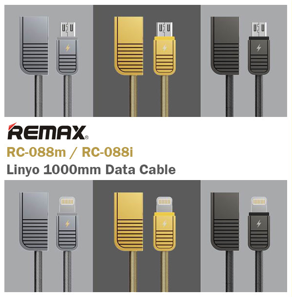 Remax Linyo RC-088m/RC-088i 1000mm Data Cable Micro/Lightning Android IOS USB