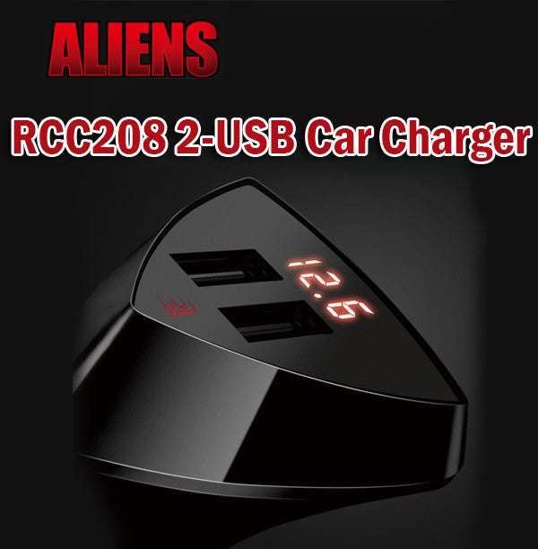 Remax RCC208 Alien 3.4A Car Charger with LED Screen 2 USB Charging Port Sockets