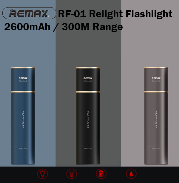 Remax RF-01 Relight Flashlight Long Range 300m One Hand Operation Torch Light
