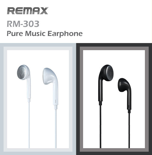 Remax RM-303 Pure Music Stereo Earphone Earpiece with Microphone Apple Samsung