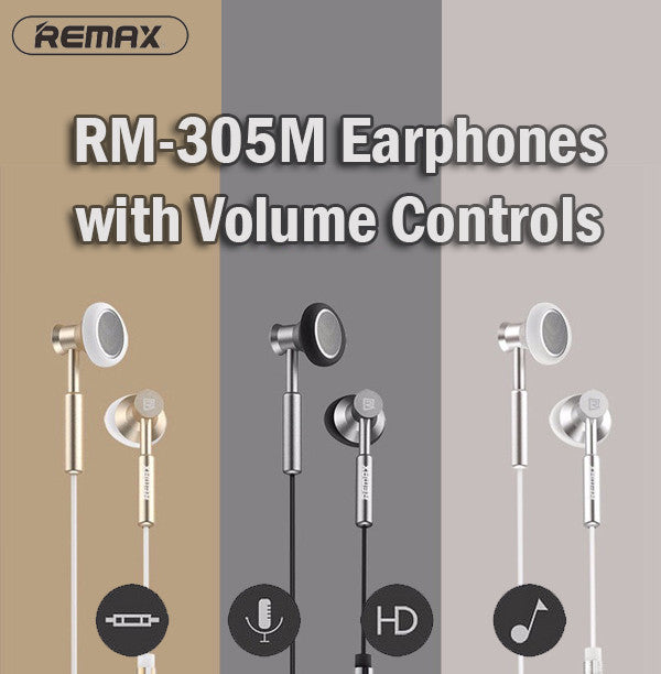 Remax RM-305M Earphone with Volume Controls for Android Samsung IOS Apple iPhone
