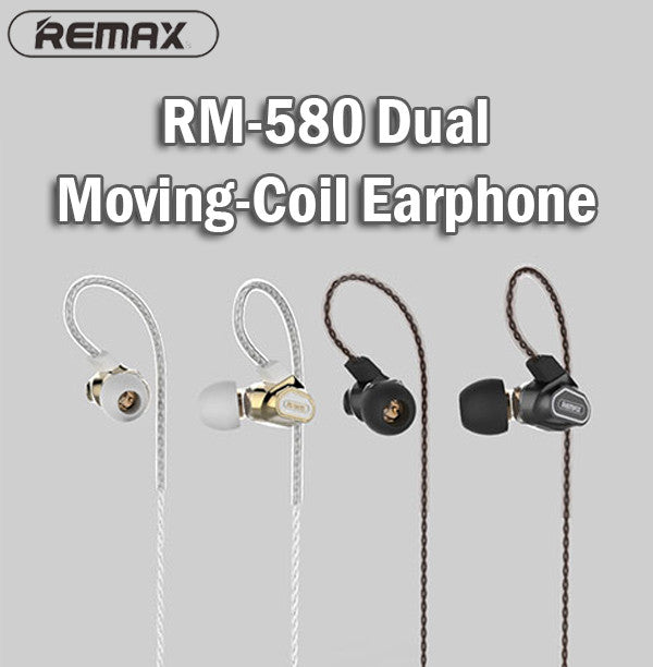 Remax RM-580 Dual Moving-Coil Earphone Earpiece IOS Android Samsung iPhone Apple