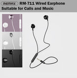Remax RM-711 Wired Earphone Earpiece Headset Wire HD Mic Music Phone Handphone