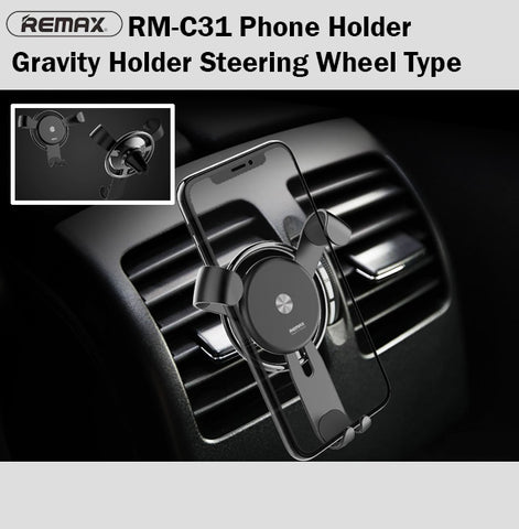 Remax RM-C31 Steering Wheel Gravity Phone Holder Car Air Vent iPhone Samsung