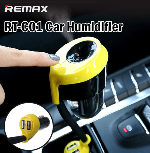 Remax RT-C01 Car Charger Humidifier Air Purifier 2USB Port Vehicle Android Apple
