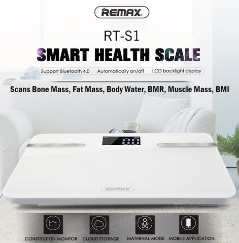 Remax RT-S1 Intelligent Body Weight Weighing Scale Bone Fat Muscle Mass BMR BMI