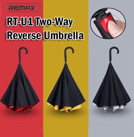 Remax RT-U1 Two-Way Reverse Umbrella Automatic Auto Rain Sun Light Rainy Sunny
